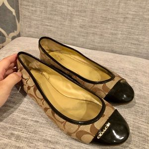 Coach Signature Brown Ballet Flats